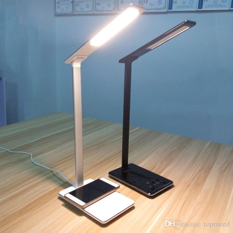 Iphone 8 Wireless Charger Pad Desk Top LED Lamp Touch Dimmer With Wireless Charging And USB 2.0 Charge Light Foldable