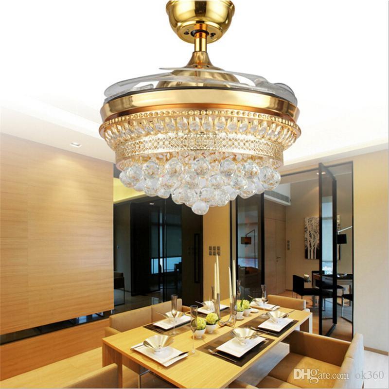 Moderne Invisible Lames Ventilateurs De Plafond Cristal Pendentif Ceinture Rétractable Avec Éclairages LED Pliant Ventilateur De Plafond Lustre