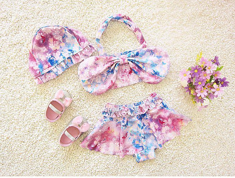 summer fashion baby girls swimsuits hats+tops+briefs swimming clothes sets print baby bra bow kids girl bikini beach wears spa