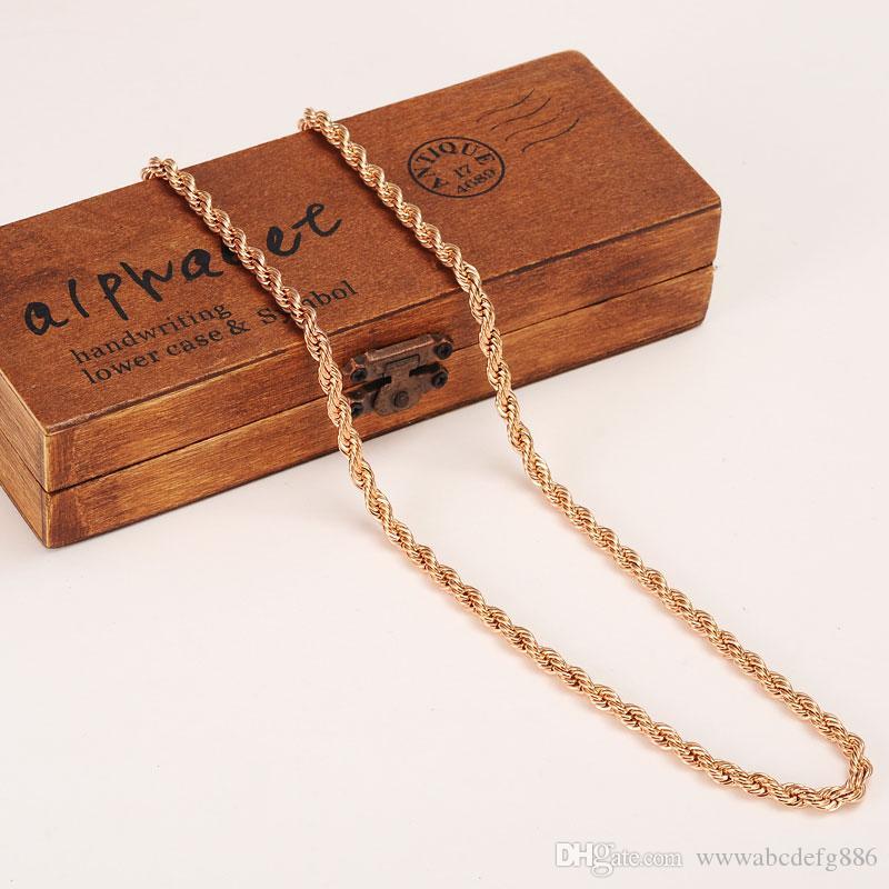 5 мм богатых мужчин женщин 18k розовое золото GF толщиной шеи ожерелье тонкой веревки цепи 23.6