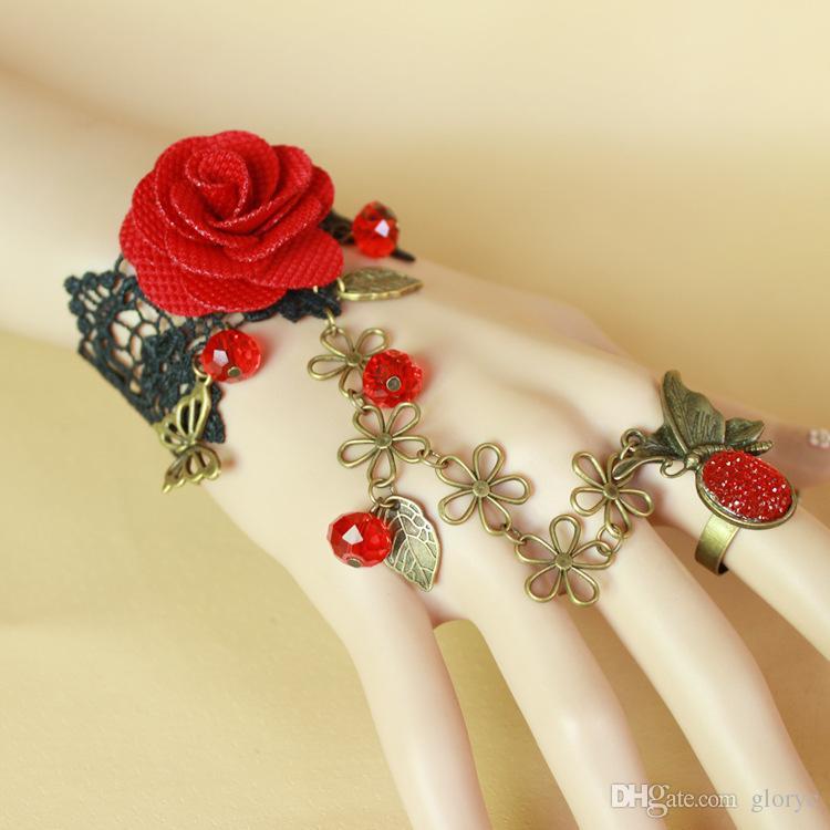 Moda Vintage Lady DIY Takı Gotik Dantel Çiçek Taş Parmak Yüzük Charms Bilezik gül çiçek Bilezik Zincirleri Yeni Varış GLGS124