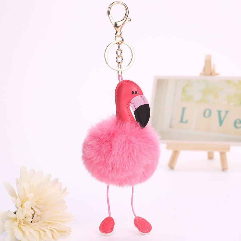 Pele Fofa Flamingo Chave Anéis Pingente Moda Jóias Sacos Pendurar Pingente Acessórios Do Carro