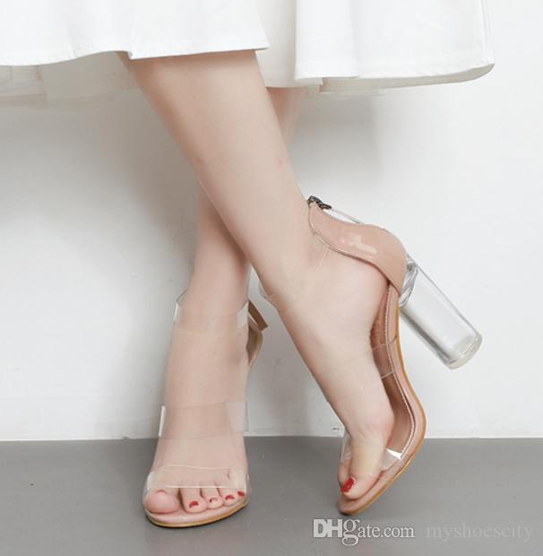 845bba59d95 Womens Strappy PVC Sandals Transparent Peep Toe Crystal High Block Heels  size 35 to 40