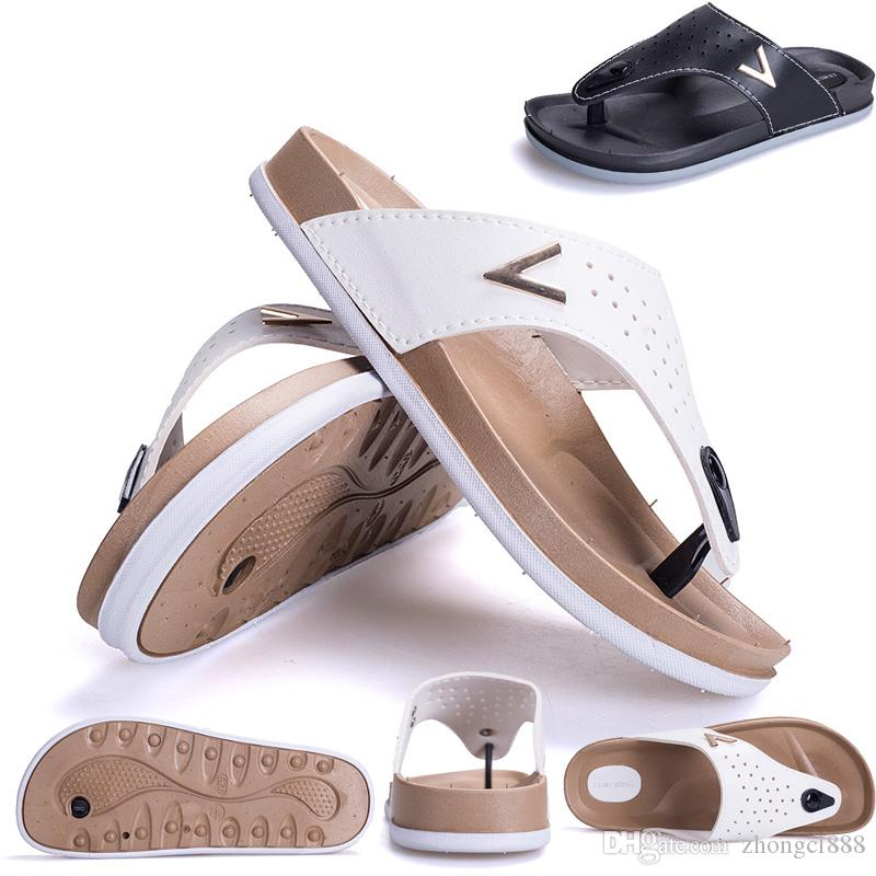 Men Sandals Beach Shoes Fashion Men Beach Flip-flops PU Leather ... 23dbfbe31