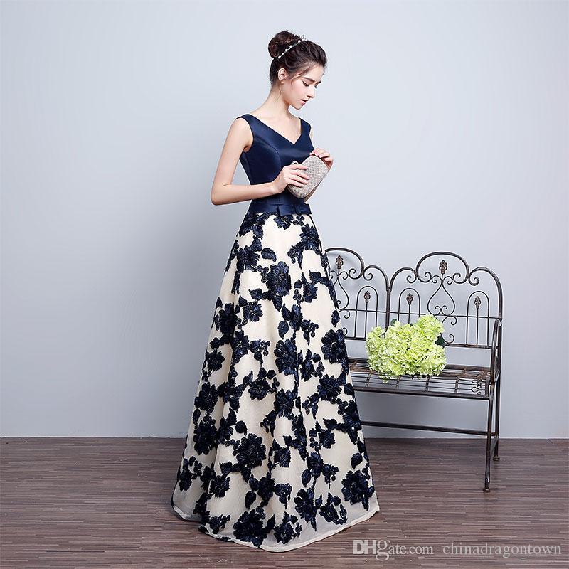 huge discount a708a f2ae5 Nuovo modello di fiore di modo Vestiti casuali sexy delle donne Vestiti  lunghi eleganti da ballo del partito Abiti da occasione speciali Abiti del  ...