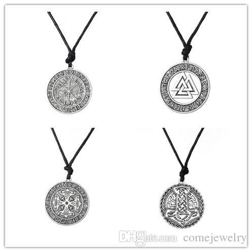 Wholesale Warrior Scandinavian Amulet Collares Vegvisir Valknut