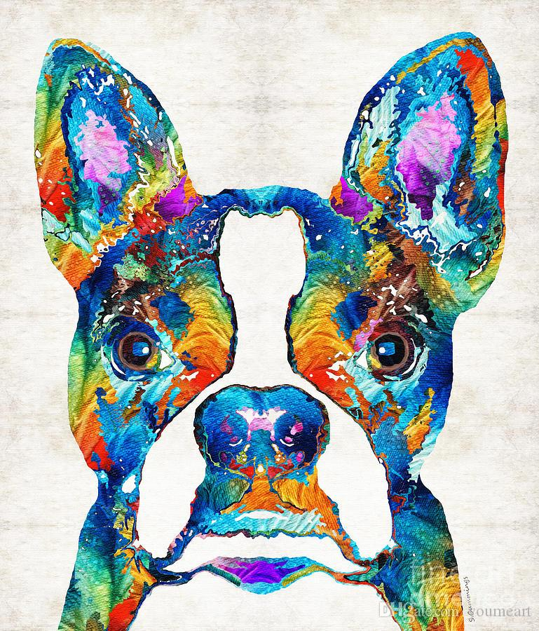 YOUME ART Colorful-boston-terrier-dog-pop-art Modern Canvas Wall Art for Home and Office Decoration ,30X36 Inch, Giclee Artwork for Wall
