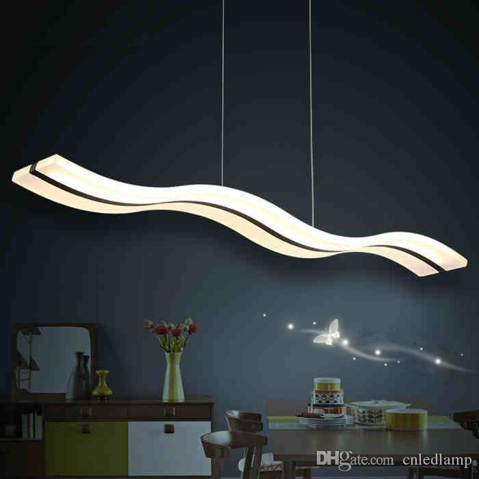 High Power 38W LED Acylic Pendant Light Modern Wavy S Type Dimmable led Modern Linear Lamps for Living Room and Restaurant