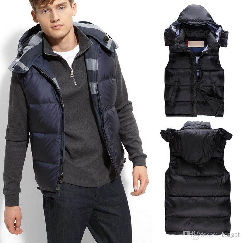 Hooded Down Vest Men 2017 NEW A/W Outerwear Sleeveless Quilted ... : cheap quilted vest - Adamdwight.com