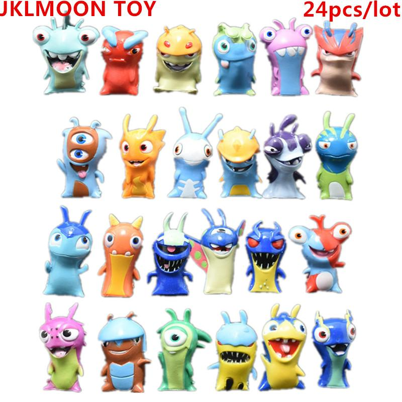2017 New 24pcs/lot 5cm Anime Cartoon Slugterra PVC Action Figures Toys Dolls Child Toys