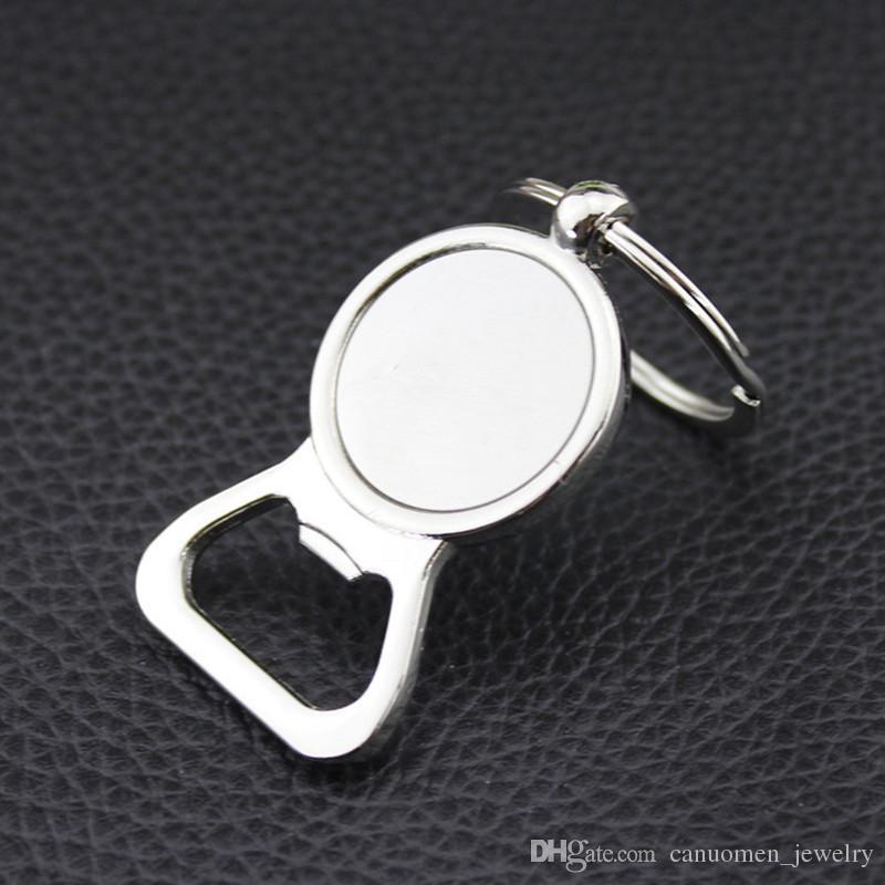 Abridores de Garrafa de cerveja Chave Anéis de Prata DIY para 25mm Cabochão De Vidro Chaveiros Liga de Cozinha Ferramentas Homens Presentes de Jóias Por Atacado