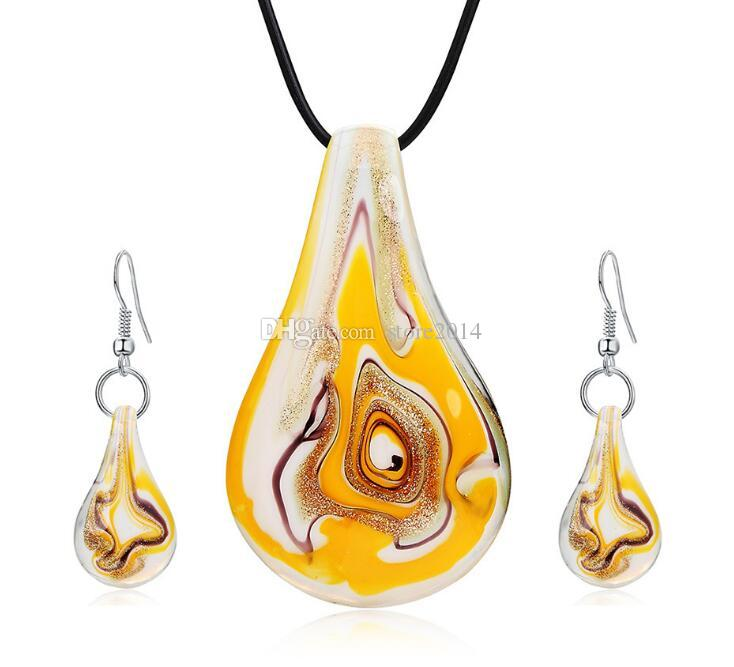 Leaf/Water Drop Glitter Lampwork Pendants Murano Handmade Glass Pendants Necklaces And Earrings Sets Cheap Fashion Jewelry