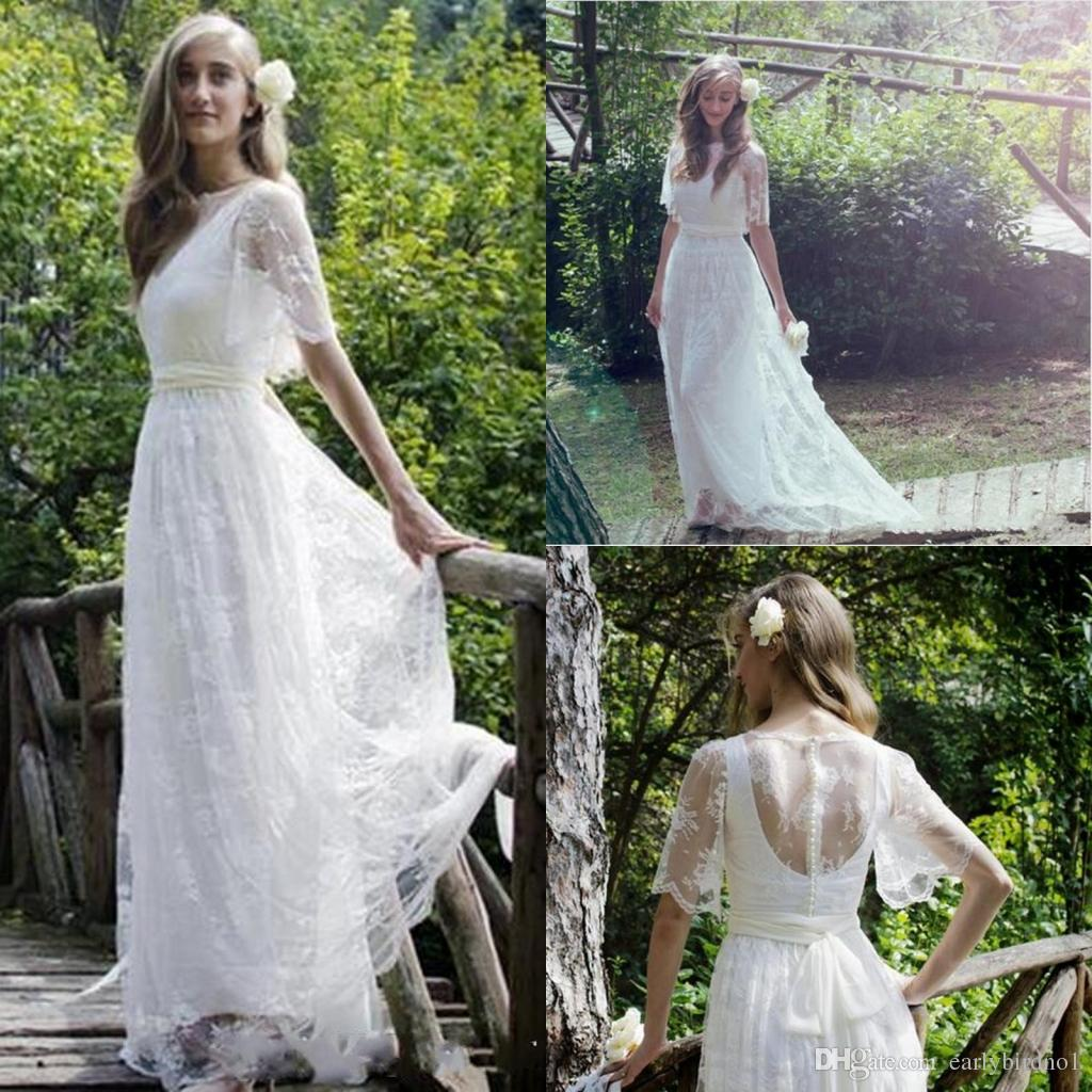 Romantic Sweetheart Beach Wedding Dress High Quality: Discount 2017 New Romantic Bohemian Beach Lace Wedding