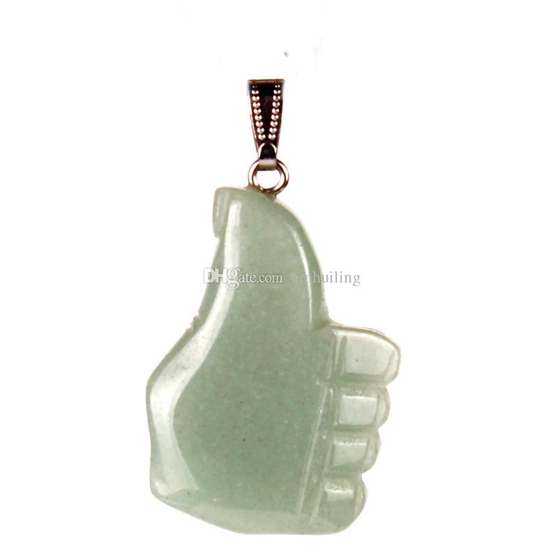 Mixed Random Color Topaz Rose Quartz Hand Carved Stone Lucky Charm Thumb Up Fist Pendant Reiki Aura Crystal Healing Protection