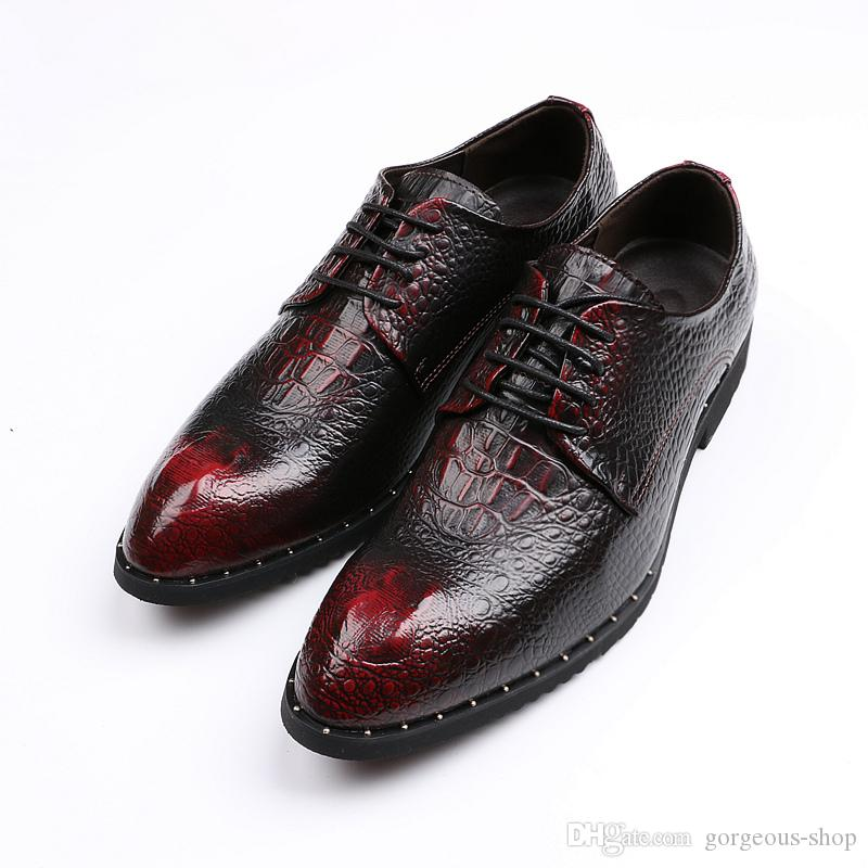 c184e193f3abb Leather Shoes Luxury Crocodile Pattern Fashion Mens Dress Shoes Genuine Leather  Men Patent Leather Marriage Shoes Cheap Trainers Blue Shoes From Gorgeous  ...