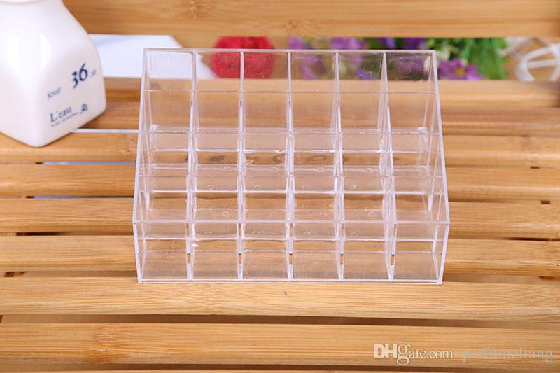 24 Lipstick Holder Display Stand Clear Plastic Cosmetic Organizer Makeup Case Sundry Storage Box ZA4023