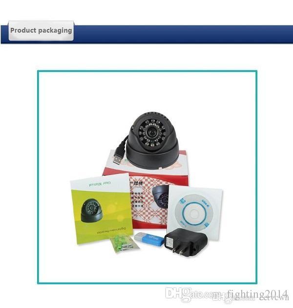 Cámara de seguridad para el hogar Videocámara 24 Leds IR Visión nocturna Interior Dome USB Cámara CCTV Vigilancia de seguridad negro blanco