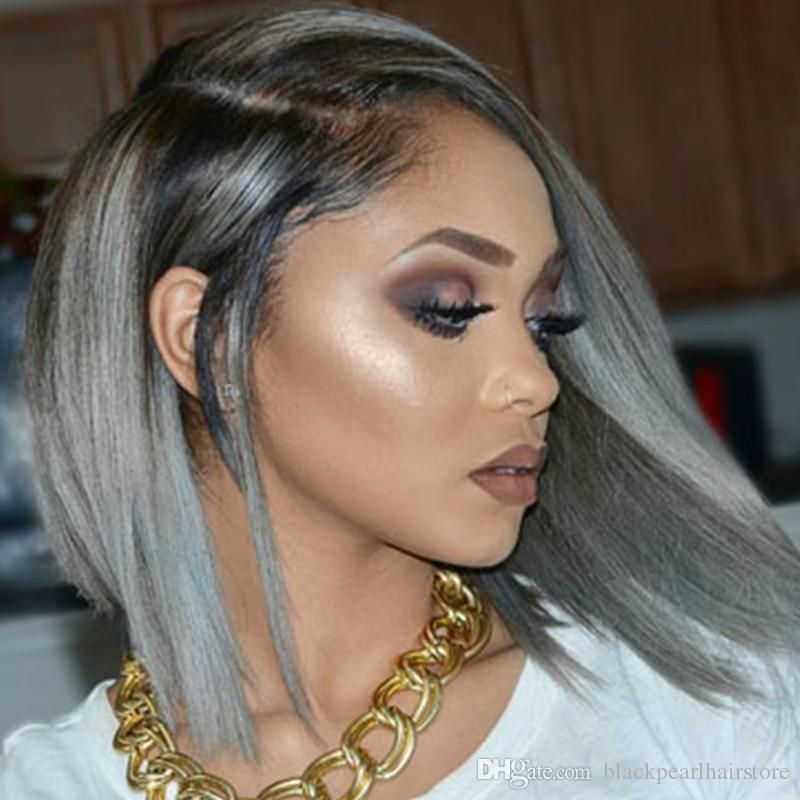 Ombre Silver Grey Hair Wig Bob Style Human Hair Short Wigs 1b/Grey ...