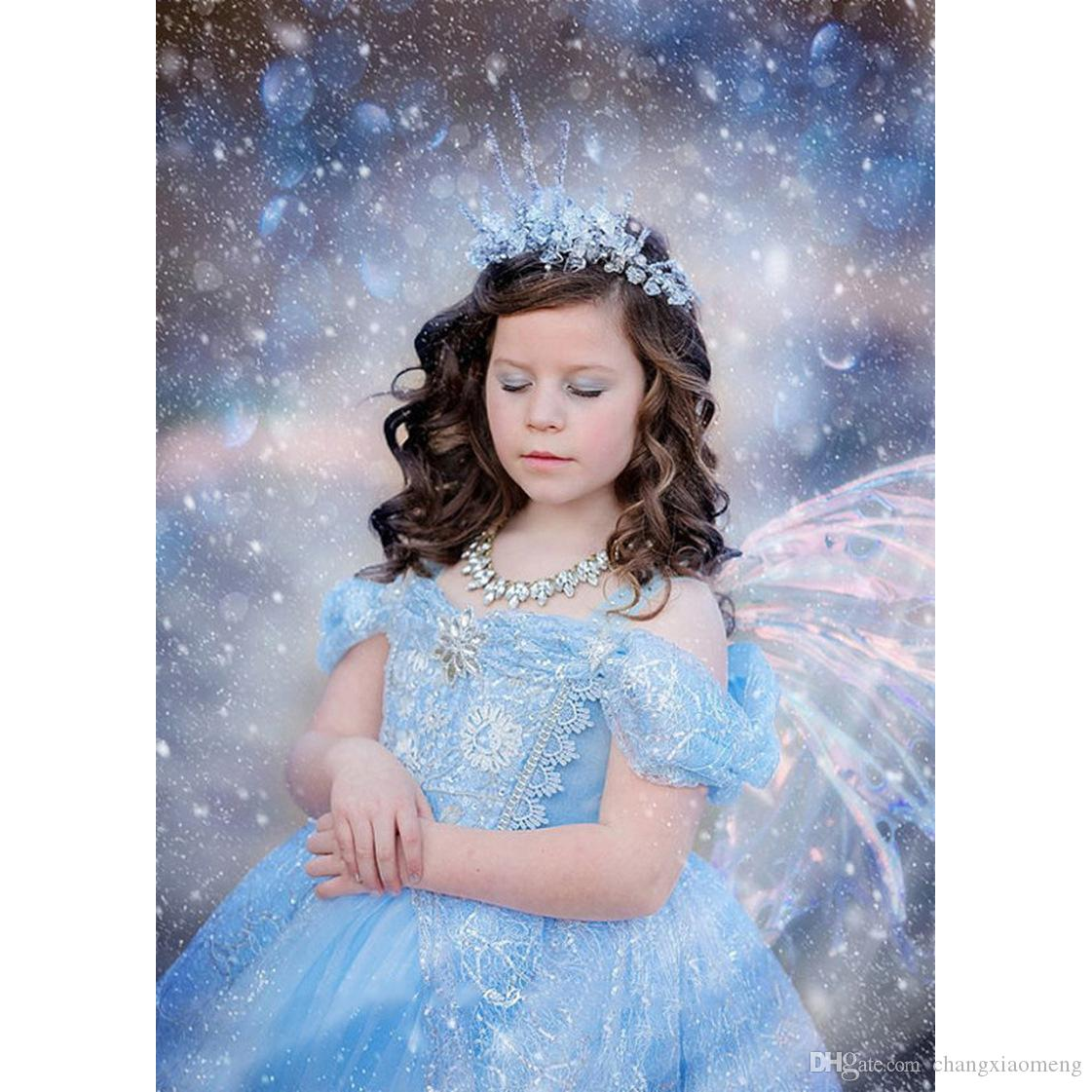 2018 The Snow Queen Halloween costume cartoon princess dress girl children skirt Dress up party baby Christmas birthday butterfl