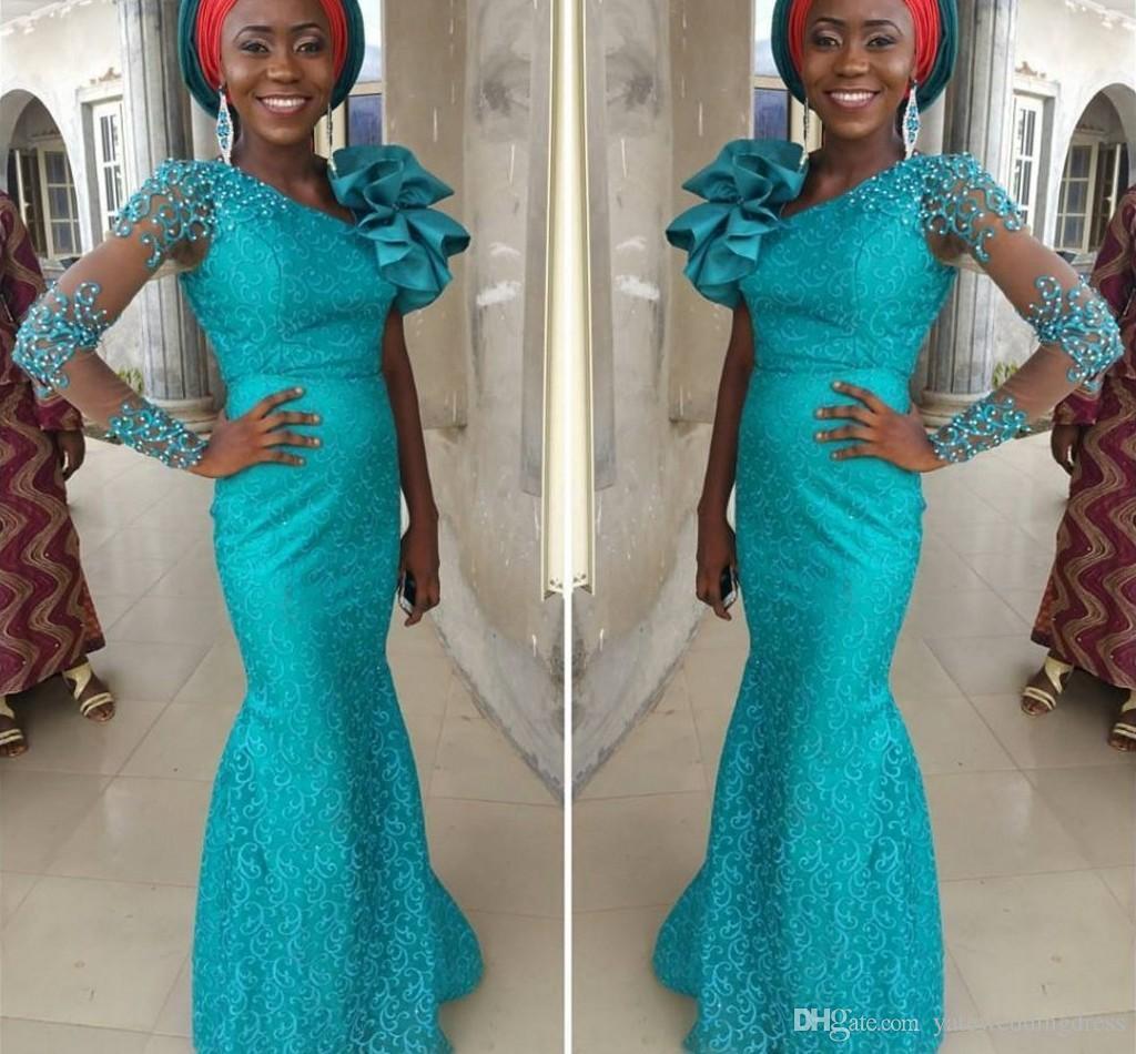 Бирюзовые длинные вечерние платья Aso Ebi с одним длинным рукавом. Платья из красной ковровой дорожки с большими цветами плеча. Вечерние платья на заказ.