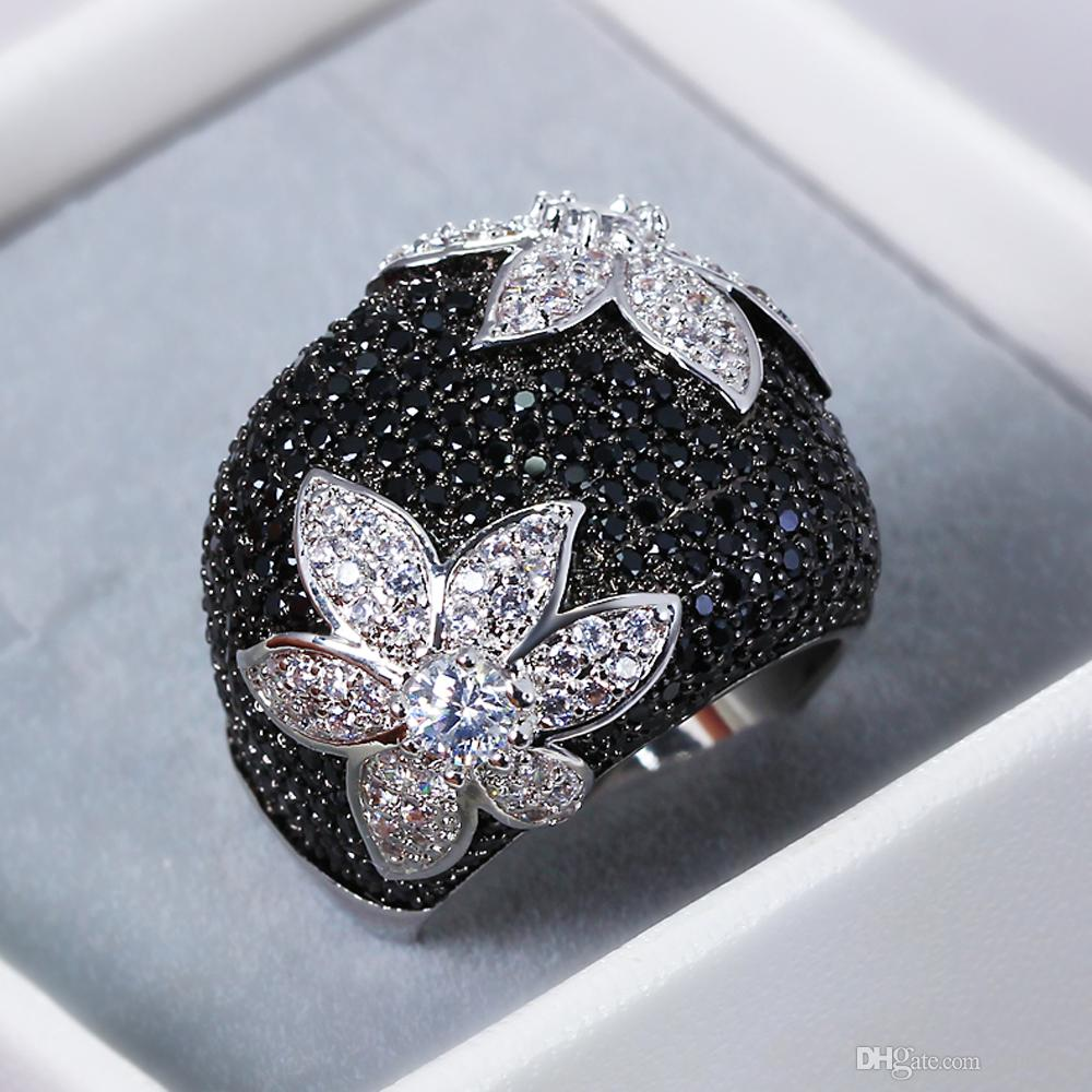 Black Flower Ring Jewelry Jet CZ Stones Color in Gold And Black 2 ...