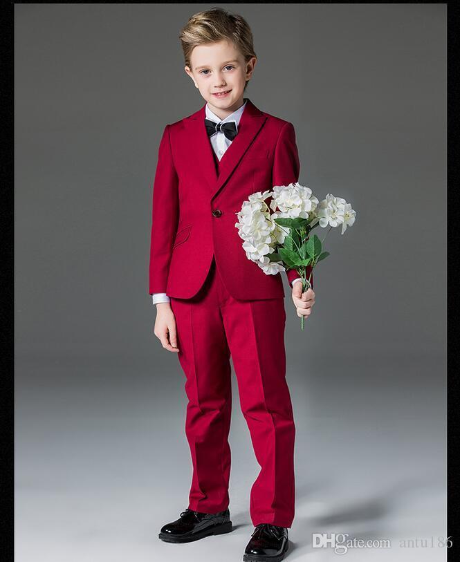 Lovely Wine Red Boy Flower Girl Dress Fashion Boy Formal Wedding Dress Suit Three Piece Suit ...