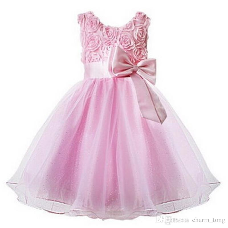 Küçük Kızlar Çocuklar için Bow Parti Yarışması komünyon Elbise / Düğün için Çocuk Elbise Yeni Gerçek Krep Çiçek Kız Elbise