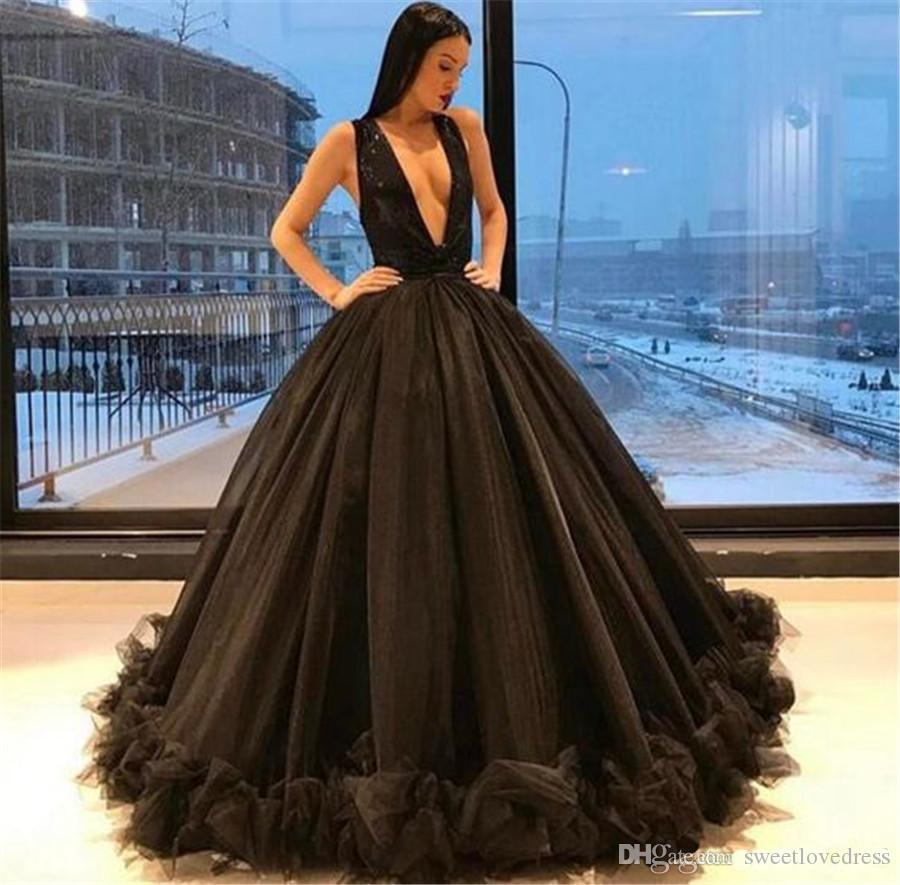 dcc3053aa73 Arabic Sexy Deep V Neck Backless Ball Gown Black Tulle Prom Dresses Long  Ruched Party Prom Gowns Custom Made Royal Blue Prom Dress Shop Dresses  Online From ...