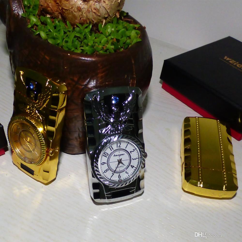 Orologio classico elettronico come accendino con fiamma verde fuoco con luce a LED Shine Ness