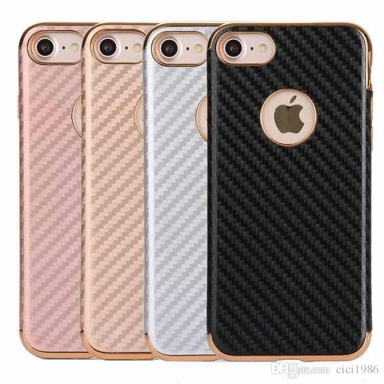 New metal aluminum alloy carbon fiber plating tpu cell phone case for iphone 5/5s 6/6s plus 7 plus samsung s8 s8plus J2prime J3prime J5prime