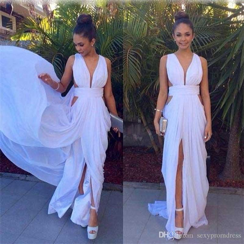 Vestidos de noche de gasa blancos simples 2017 volantes de verano ahuecan hacia fuera el vestido de fiesta largo Vestido de cóctel barato Tamaño por encargo