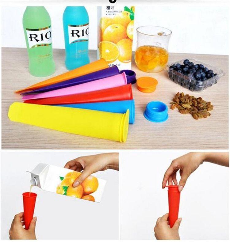 2017 silikoneis Pop Mold Connecles Schimmel mit Deckel Eismaschine Push Up Eis Gelee Lolly Pop Für Eisenkelikus 15 * 3,5 cm