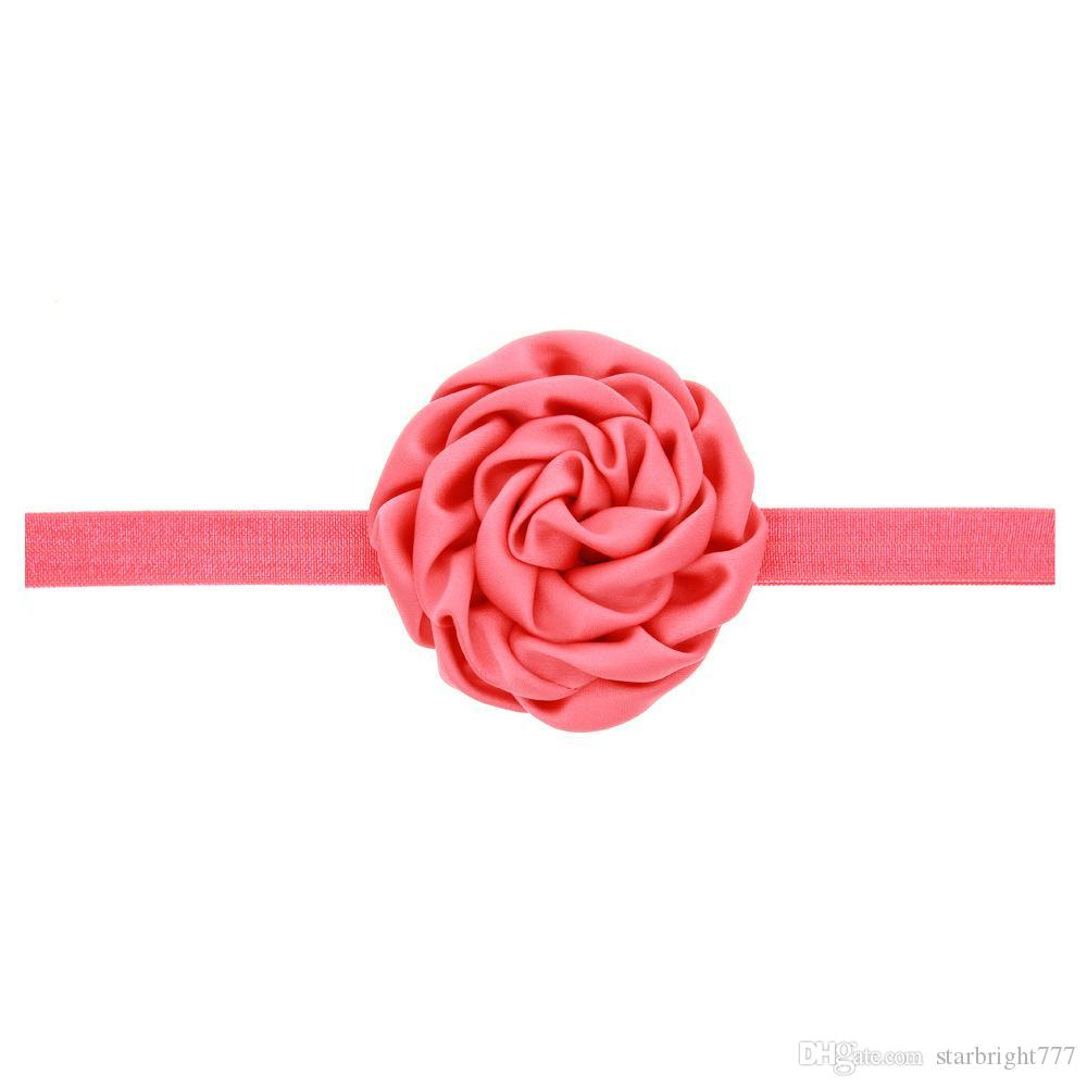 Kids Fashion Hair Accessories Boutique Ruffled Flower Headbands for Girls Toddler Solid Color Elastic Hairbands