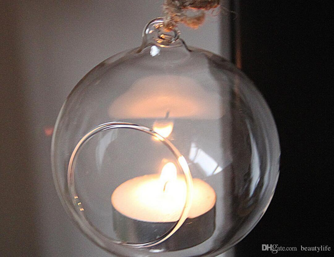 شنقا زجاج الشمعدان الزجاج الكرة شمعة حامل الزفاف الديكور المنزل يمكن وضع شمعة زجاجية الإلكترونية شمعدان 8 سنتيمتر 10 سنتيمتر 12 سنتيمتر