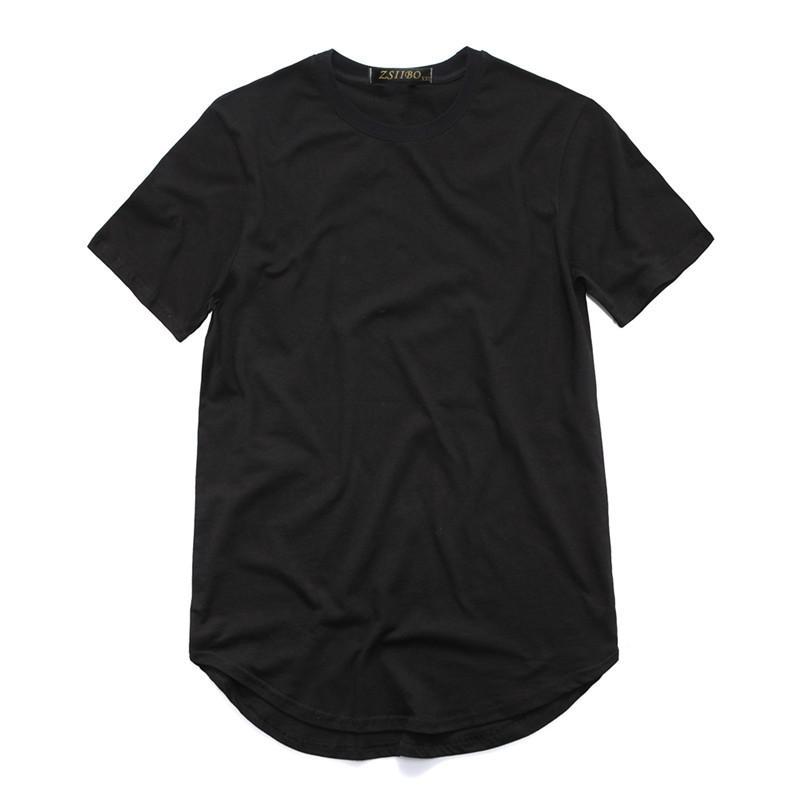 Men's T Shirt Fashion Extended Street StyleT-Shirt Men's clothing Curved Hem Long line Tops Tees Hip Hop Urban Blank Basic t Shirts TX135