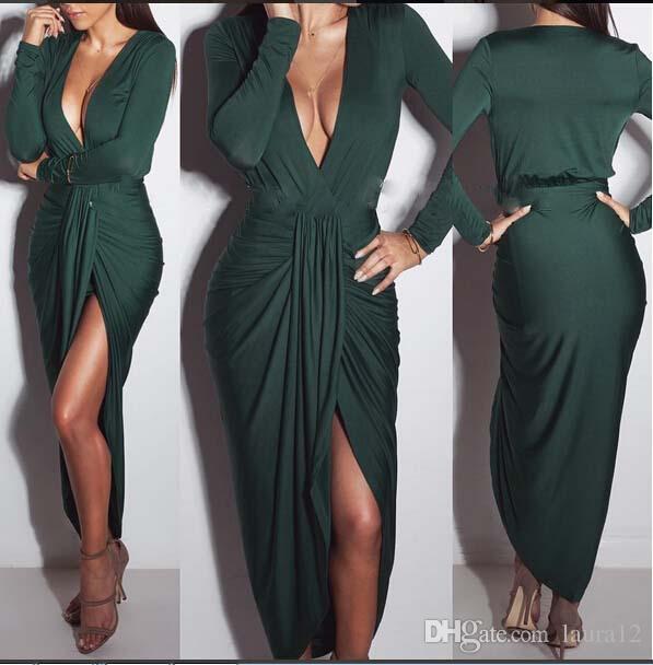 2017 New Green Elegant Sheath Party Dress Deep v Neck Long Sleeves Ruffle Front Split Ankle Length Women Dress