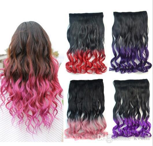 NUOVO 2017 di alta qualità moda R2T5C sezione pendenza cinque-card capelli ricci colore lunga parrucca capelli ricci pezzo di un parrucchiere di cinque carte di accesso parrucche