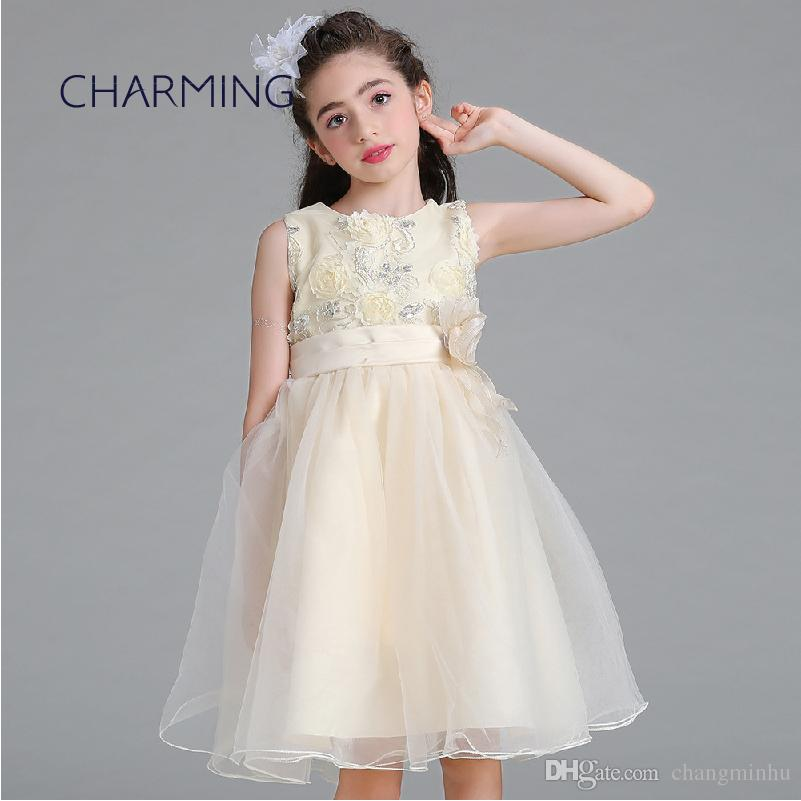 f544f9728 flower girl dress for 3-12 year old girl 3 color (champagne + white + pink) girls  dresses prom dressess