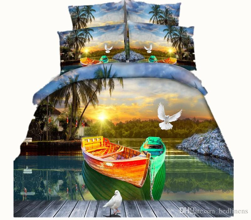 5 Styles Coconut Tree Boat 3D Printed Bedding Sets Twin Full Queen King Size Bedspreads Bedclothes Duvet Covers Butterfly Dove Animal 3/4PCS
