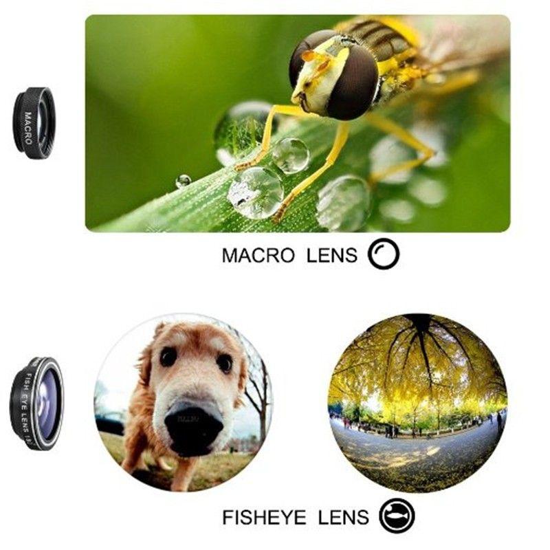cell phone camera lens 3 in 1 Wide Angle Macro Fisheye Lens Universal Camera Mobile Phone Lenses Fish Eye Lentes For iPhone 6 7 Smartphone