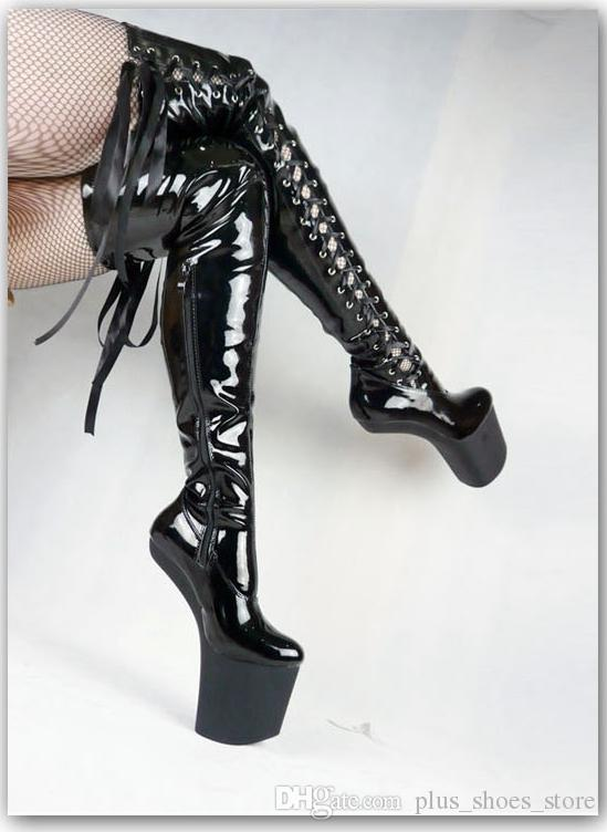 20cm Heels Women Boots High Boots Lace Up Plus Size Boot Shoes Performance Shoes Fashion Patent Leather Shoes Cheap Modest