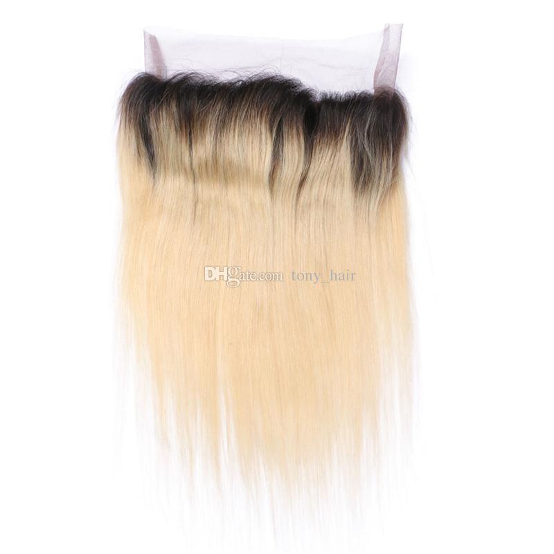 Loira Raízes Escuras 360 Fechamento Frontal Do Laço Com Feixes de Cabelo Liso Malaio Com 360 Graus Lace Banda Frontal # 1B / 613 Cabelo Ombre