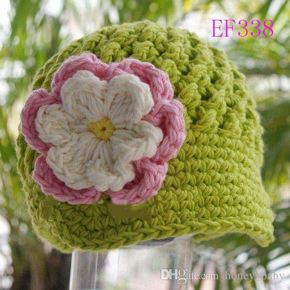 Cute Flower Hat Baby Kids Infant Toddler Girls Newborn Autunno Inverno Bambini Beanie Crochet Knitted Skull Cap 100% Cotone Fotografia Puntelli