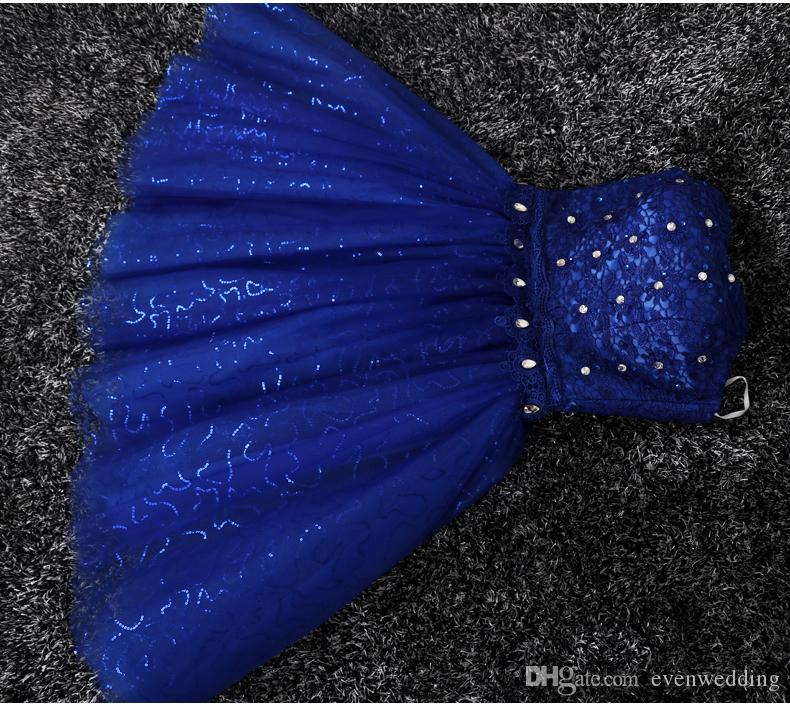 Royal Blue Lace Tulle Robe de soirée robe de bal Lace Up 2018 Robe de soirée courte Elegant Real photos