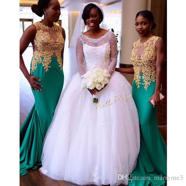 Aqua 2017 Mermaid Nigerian Wedding Ceremony Dress Gold