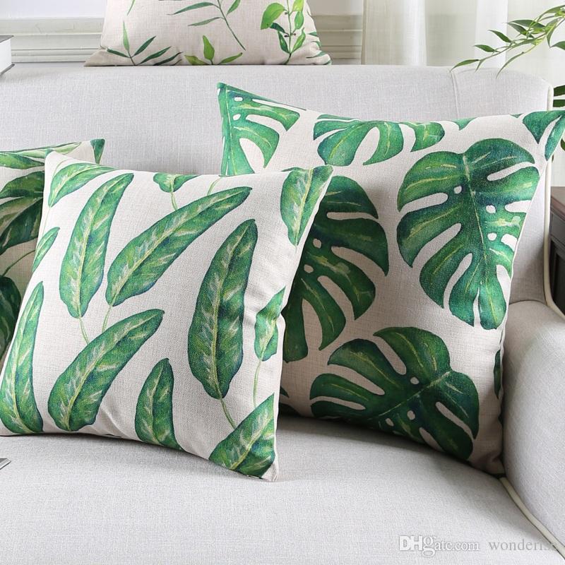 Banana Monstera Leaf Art Cushion Cover Tropical Plants