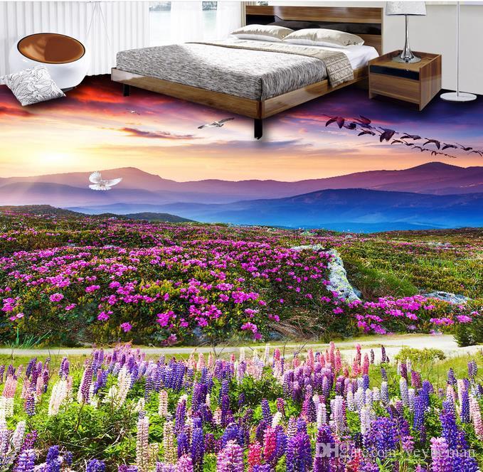 3d murales il pavimento stereoscopico carta da parati autoadesiva personalizzato pavimento 3d Piante fiori sfondi soggiorno