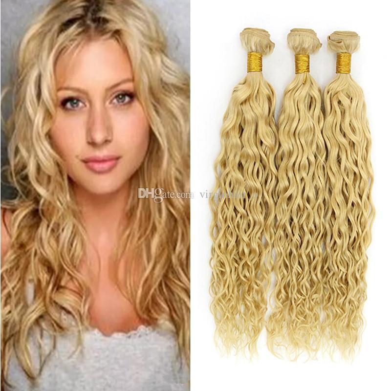 9a European Blonde Virgin Hair Weaves Wet And Wavy 100 Unprocessed