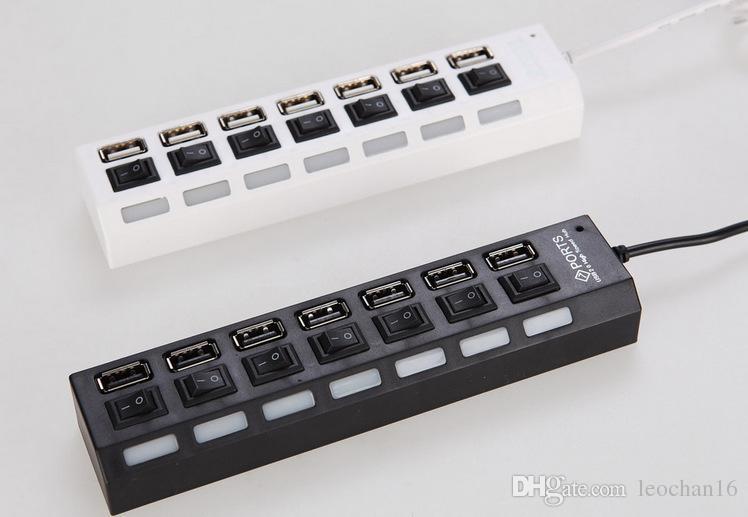 Luz LED 7 Puertos 7 Puertos Cargador Hi-Speed USB 2.0 de Alta Velocidad Hub Adaptador de CA Adaptador de Tap con On On Off Button