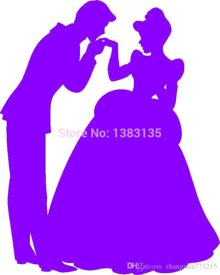 Wholesale 20pcs/lot Automobile and Motorcycle Vinyl Decal Car Glass window Stickers Jdm Prince Charming And Cinderella Silhouette